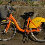 Taipei public bicycle U-BIKE parked in Lane 180 Binjiang Street